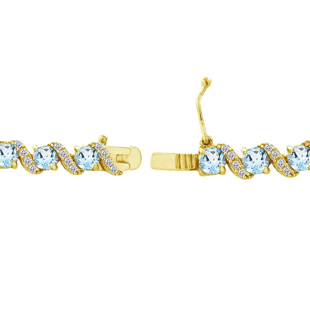 Yellow Gold Flashed Sterling Silver Blue Topaz 4mm Round-Cut S Design Tennis Bracelet with White Topaz Accents