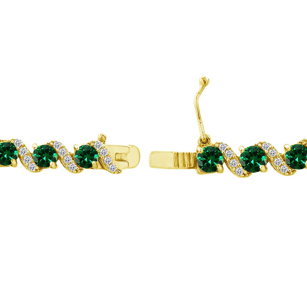 Yellow Gold Flashed Sterling Silver Simulated Emerald 4mm Round-Cut S Design Tennis Bracelet with White Topaz Accents