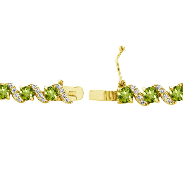 Yellow Gold Flashed Sterling Silver Periodot 4mm Round-Cut S Design Tennis Bracelet with White Topaz Accents