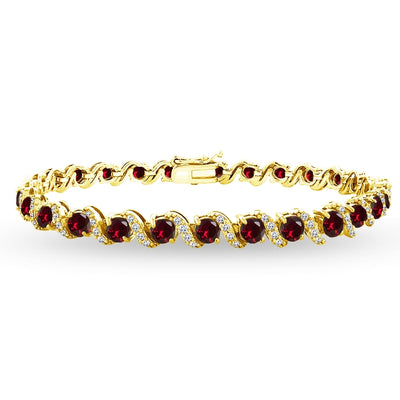Yellow Gold Plated Sterling Silver Created Ruby 4mm Round-Cut S Design Tennis Bracelet with White Topaz Accents