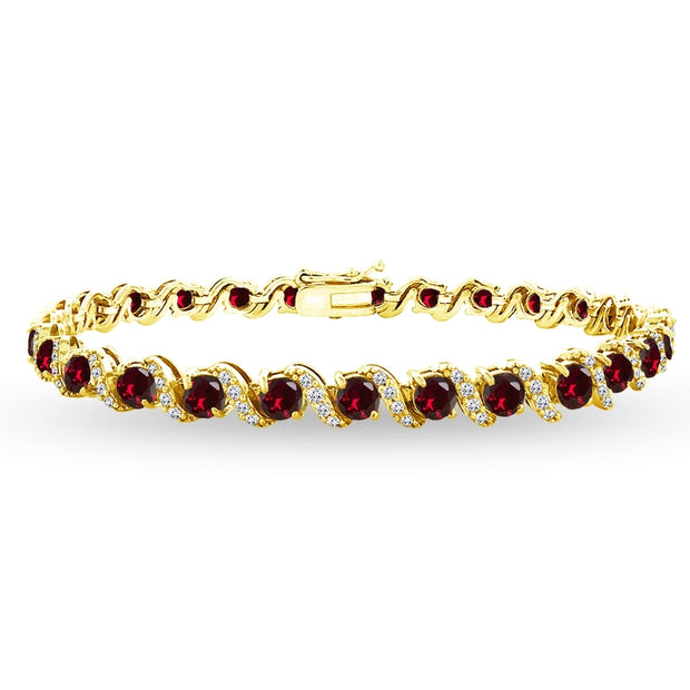 Yellow Gold Flashed Sterling Silver Created Ruby 4mm Round-Cut S Design Tennis Bracelet with White Topaz Accents