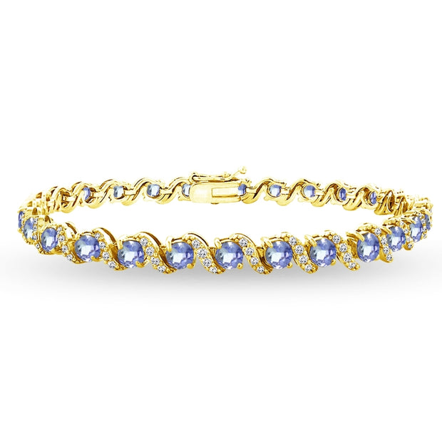 Yellow Gold Flashed Sterling Silver Tanzanite 4mm Round-Cut S Design Tennis Bracelet with White Topaz Accents