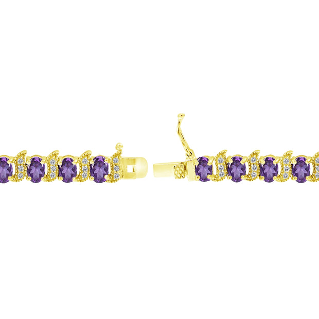 Yellow Gold Flashed Sterling Silver African Amethyst 6x4mm Oval and S Tennis Bracelet with White Topaz Accents
