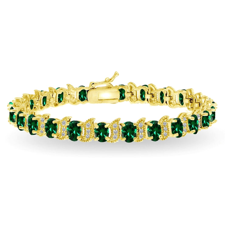 Yellow Gold Flashed Sterling Silver Created Emerald 6x4mm Oval and S Tennis Bracelet with White Topaz Accents
