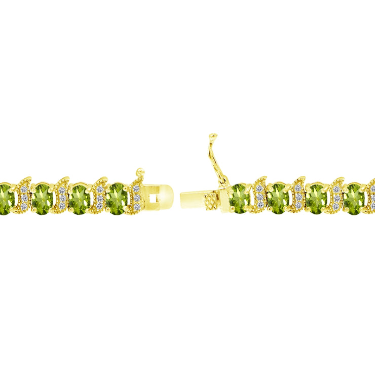 Yellow Gold Flashed Sterling Silver Peridot 6x4mm Oval and S Tennis Bracelet with White Topaz Accents