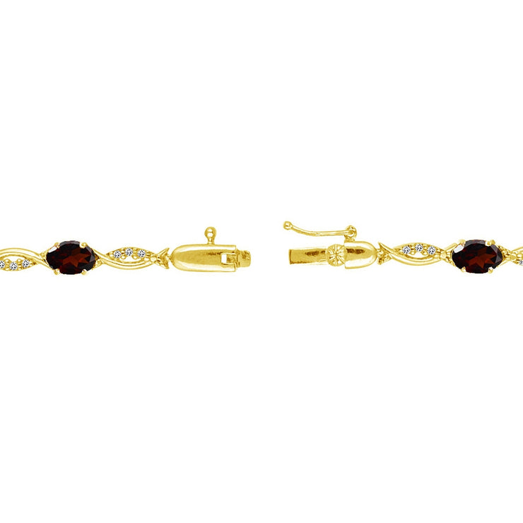 Yellow Gold Flashed Sterling Silver Garnet and White Topaz Oval-Cut Swirl Tennis Bracelet