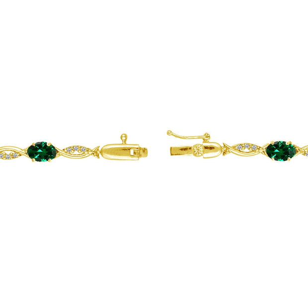 Yellow Gold Flashed Sterling Silver Created Emerald and White Topaz Oval-Cut Swirl Tennis Bracelet