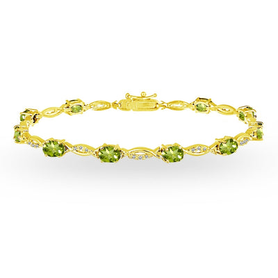 Yellow Gold Flashed Sterling Silver Peridot and White Topaz Oval-Cut Swirl Tennis Bracelet