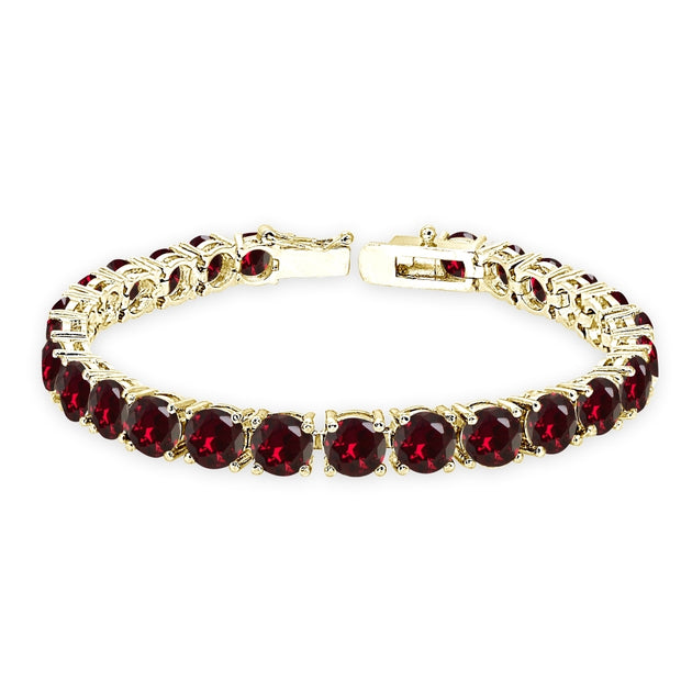 Yellow Gold Flashed Sterling Silver Created Ruby 6mm Round-cut Classic Tennis Bracelet