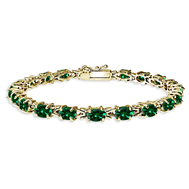 Yellow Gold Flashed Sterling Silver Polished Created Emerald 6x4mm Oval-cut Link Tennis Bracelet