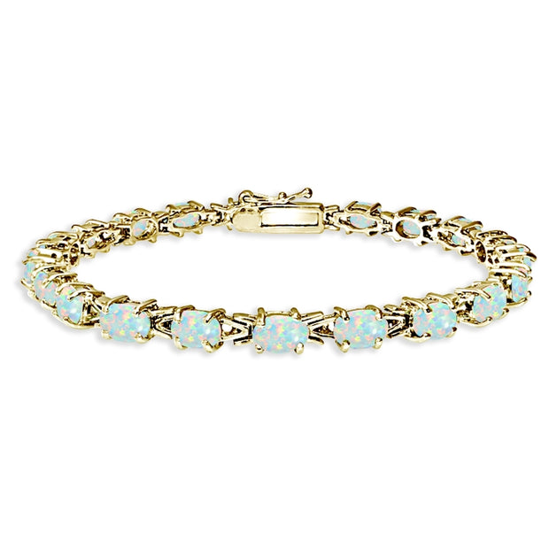 Yellow Gold Flashed Sterling Silver Polished Created White Opal 6x4mm Oval-cut Link Tennis Bracelet