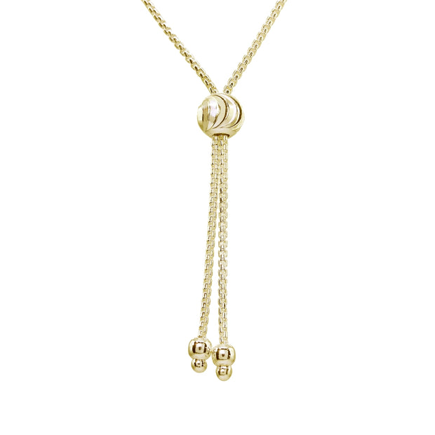 Yellow Gold Flashed Sterling Silver Polished Spiga Chain Adjustable Pull-String Bracelet