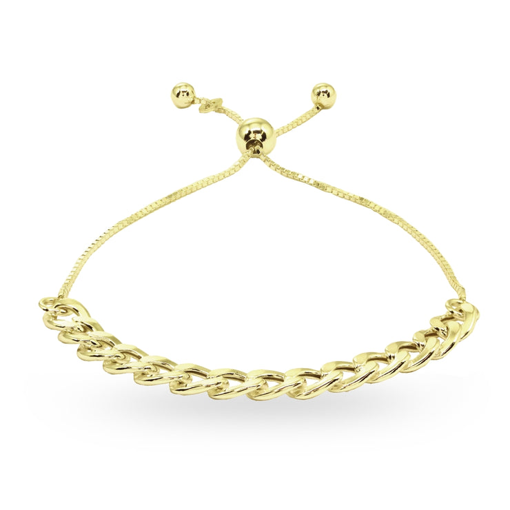 Yellow Gold Flashed Sterling Silver Thin Cuban Link Chain Adjustable Pull-String Bracelet