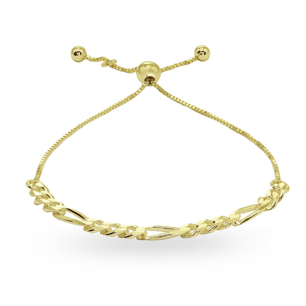 Yellow Gold Flashed Sterling Silver Thin Figaro Link Chain Adjustable Pull-String Bracelet