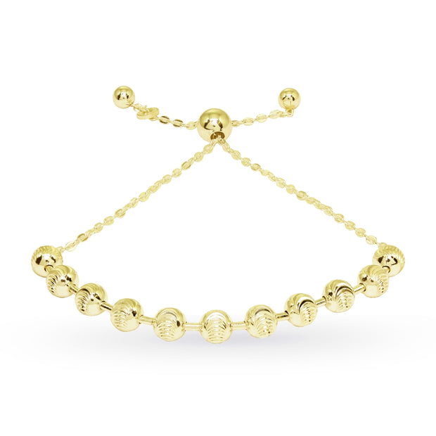 Yellow Gold Flashed Sterling Silver Textured Beads Bar Station Chain Adjustable Pull-String Bracelet