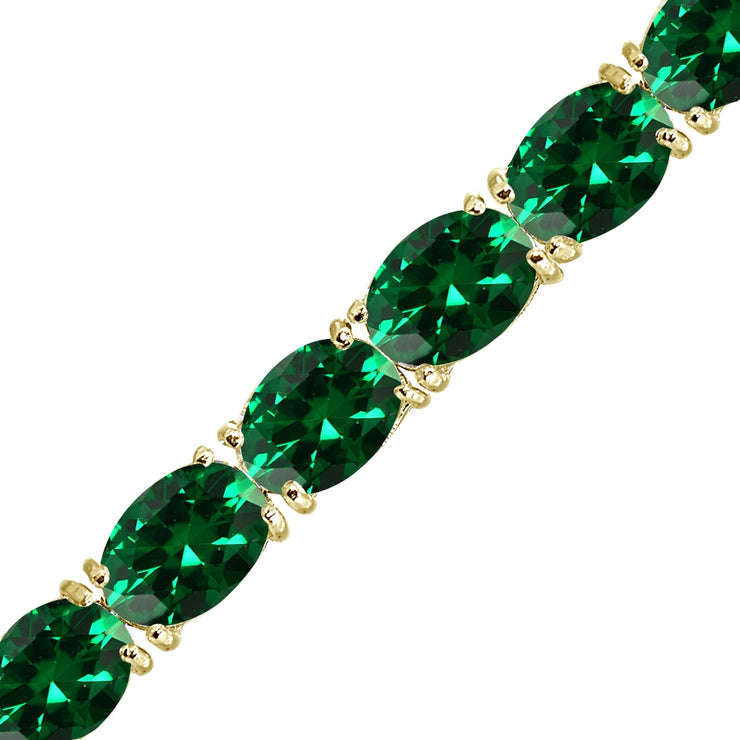 Yellow Gold Flashed Sterling Silver 7x5mm Created Emerald Oval-cut Classic Tennis Bracelet