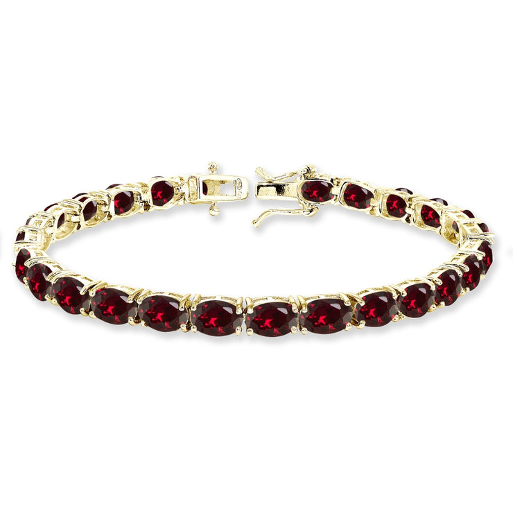 Yellow Gold Flashed Sterling Silver 7x5mm Created Ruby Oval-cut Classic Tennis Bracelet