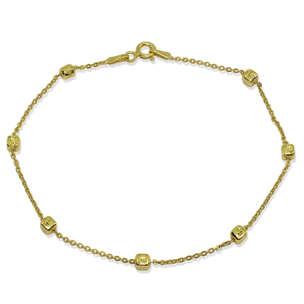 Yellow Gold Flashed Sterling Silver Italian Polished Square Cube Bead Station Cable Chain Bracelet, 7.5 Inch