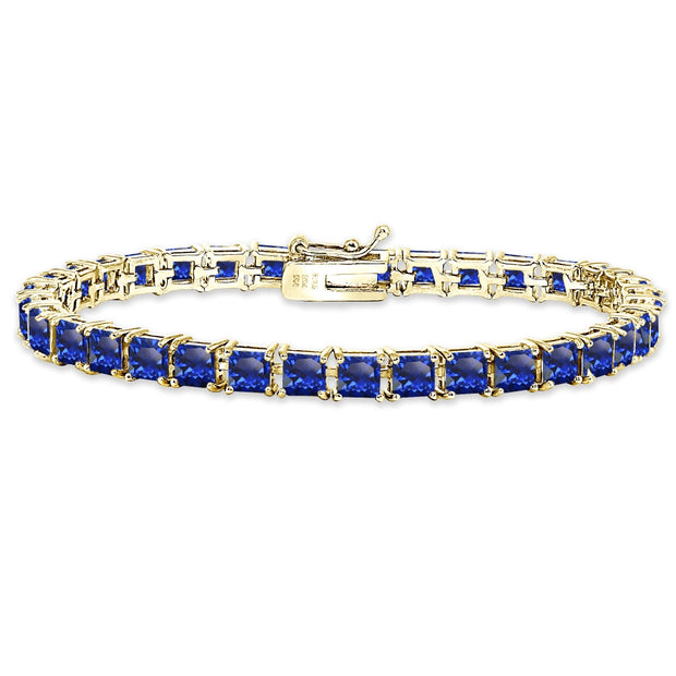 Yellow Gold Flashed Sterling Silver Created Blue Sapphire 4mm Princess-Cut Square Classic Tennis Bracelet