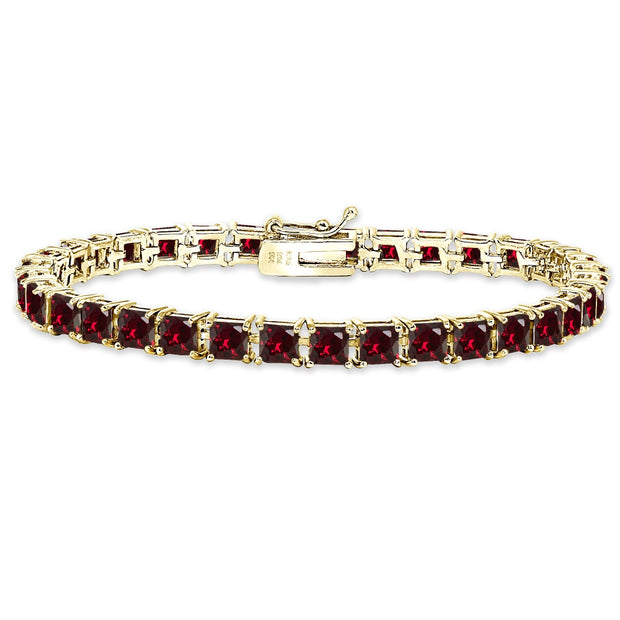 Yellow Gold Flashed Sterling Silver Created Ruby 4mm Princess-Cut Square Classic Tennis Bracelet