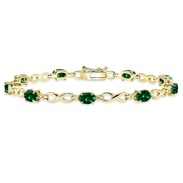 Yellow Gold Flashed Sterling Silver Created Emerald Oval Polished Infinity Classic Tennis Bracelet