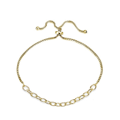 Yellow Gold Flashed Sterling Silver Polished Pull-String Loop Adjustable Charm Link Chain Bolo Bracelet
