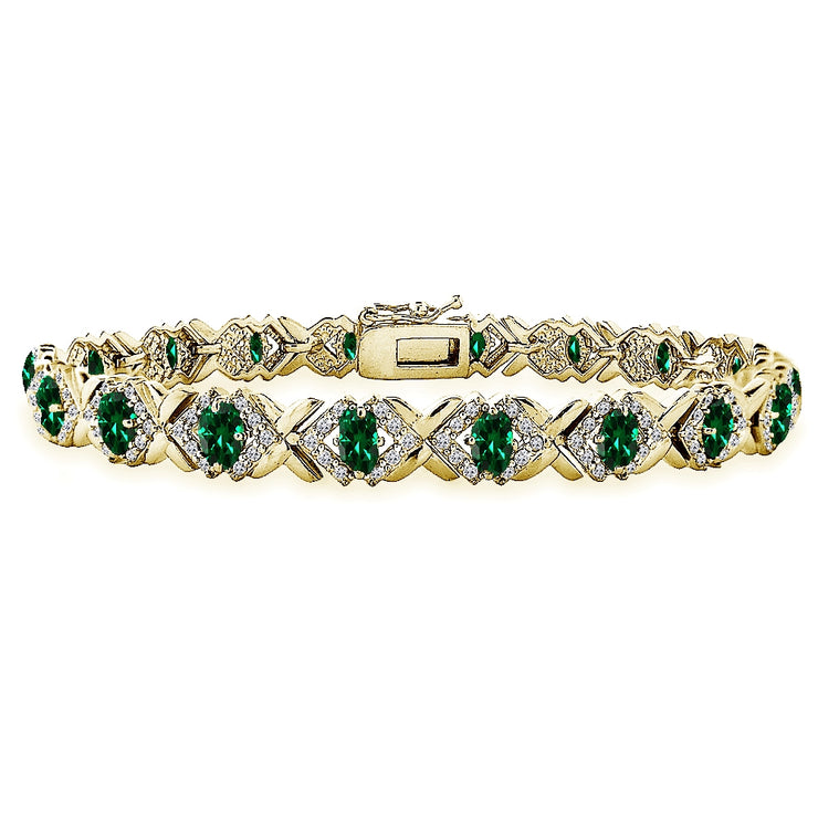 Yellow Gold Flashed Sterling Silver Created Emerald Oval X Design Polished Tennis Bracelet