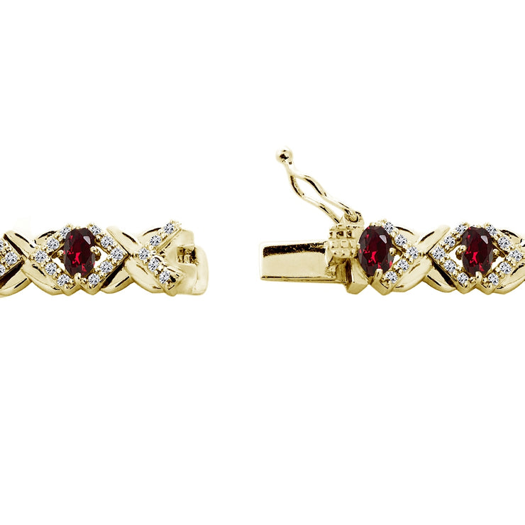 Yellow Gold Flashed Sterling Silver Created Ruby Oval X Design Polished Tennis Bracelet