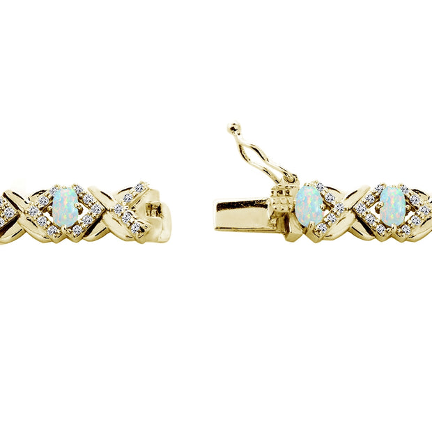 Yellow Gold Flashed Sterling Silver Created White Opal Oval X Design Polished Tennis Bracelet