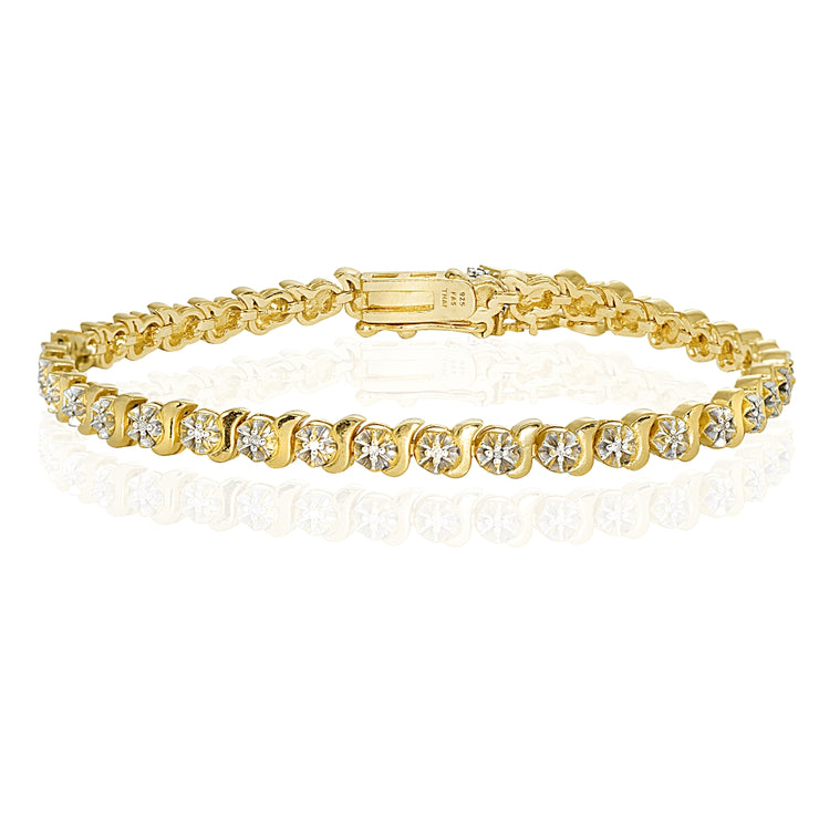 Yellow Gold Flashed Sterling Silver Polished Swirl S Design Round  Diamond Accent Fashion Bracelet, JK-I3