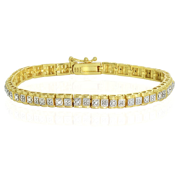 Yellow Gold Flashed Sterling Silver Polished Square Diamond Accent Fashion Bracelet, JK-I3