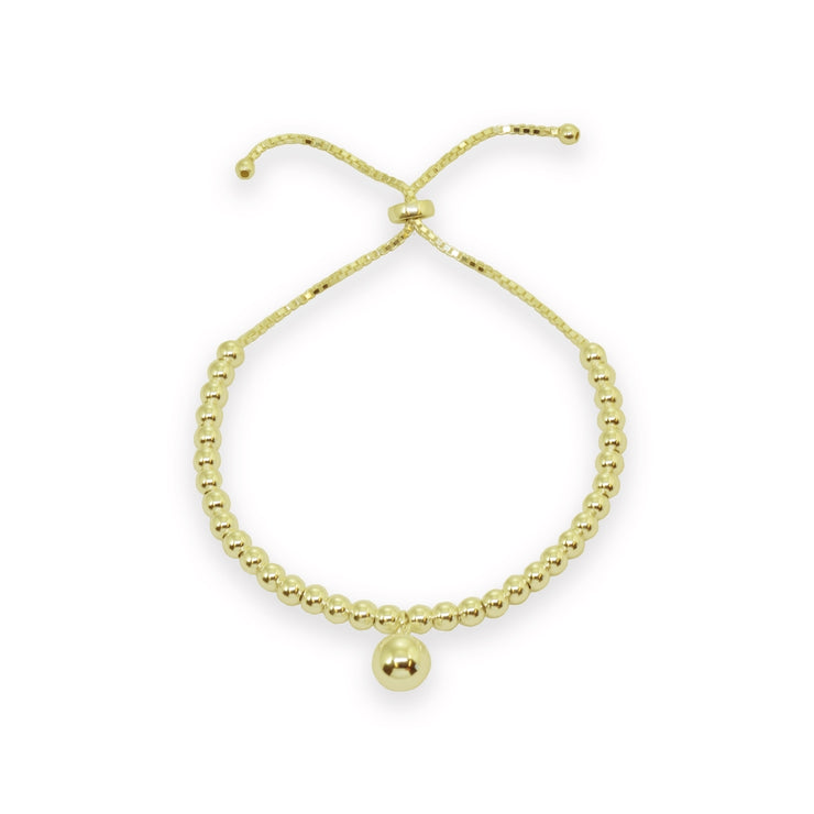 Yellow Gold Flashed Sterling Silver Polished Large Bead Pull-String Adjustable Bolo Chain Bracelet