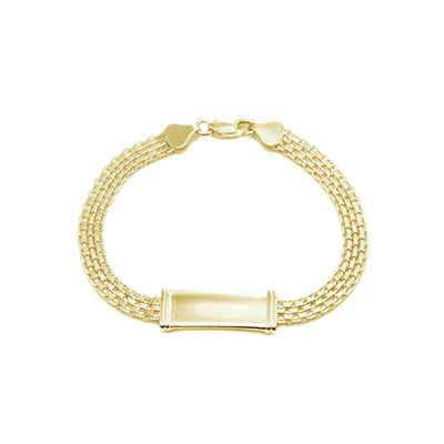 Yellow Gold Flashed Sterling Silver Polished Bar Tube Fashion Mesh Chain Bracelet