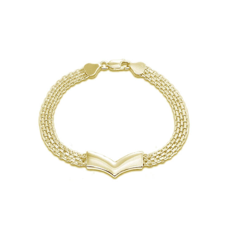 Yellow Gold Flashed Sterling Silver Polished Pointed V Chevron Fashion Mesh Chain Bracelet