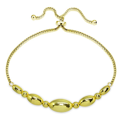 Yellow Gold Flashed Sterling Silver Polished Oval Bead Adjustable Pull-String Box Chain Bolo Bracelet