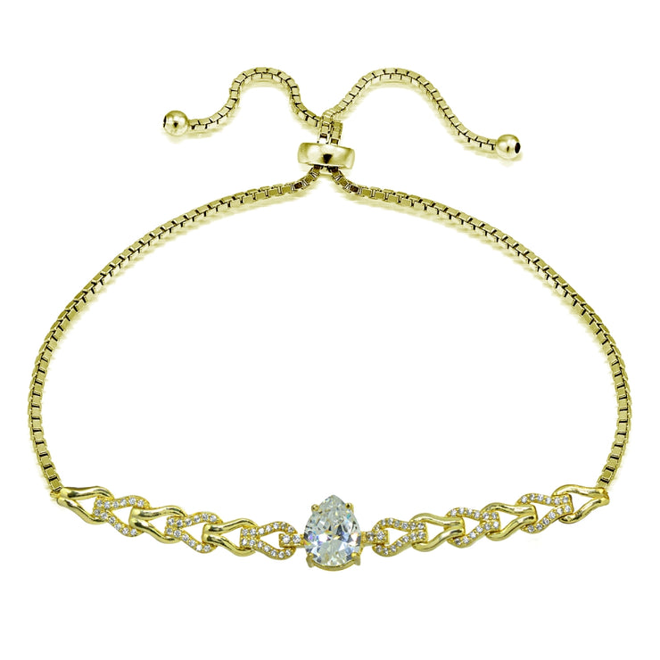 Yellow Gold Flashed Sterling Silver Cubic Zirconia Teardrop Polished Adjustable Pull-String Box Chain Bolo Bracelet