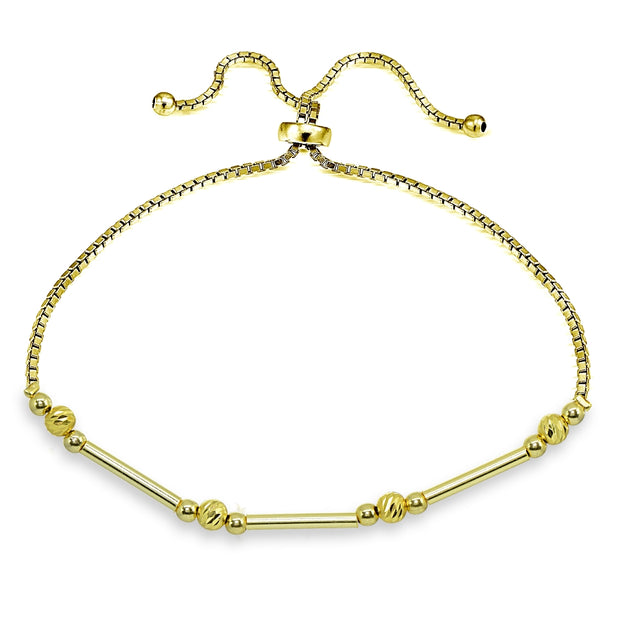 Yellow Gold Flashed Sterling Silver Polished Bar Diamond-Cut Beads Adjustable Chain Bolo Bracelet