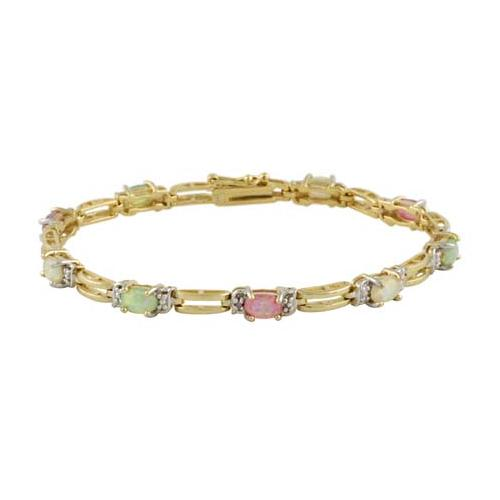 18K Gold over Sterling Silver Created Multi Opal & Diamond Accent  Rectangle Link Bracelet