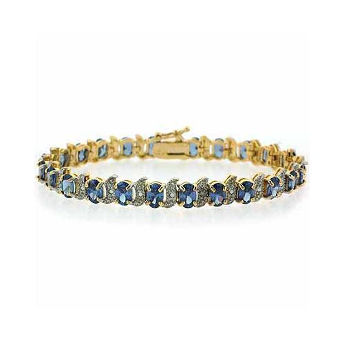 18K Gold over Sterling Silver Tanzanite CZ & Diamond Accent S and Oval Tennis Bracelet