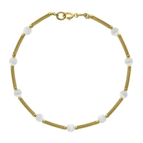 18K Gold over Sterling Silver White Cats Eye Glass Bar & Bead Bracelet