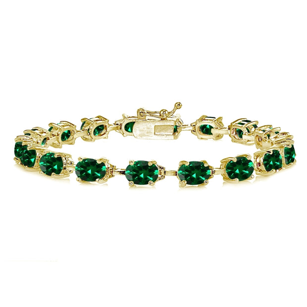 Yellow Gold Flashed Sterling Silver Created Emerald 7x5mm Oval Classic Link Tennis Bracelet