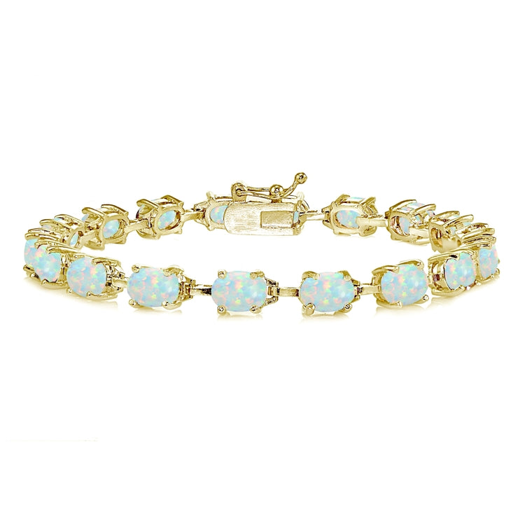 Yellow Gold Flashed Sterling Silver Created White Opal 7x5mm Oval Classic Link Tennis Bracelet