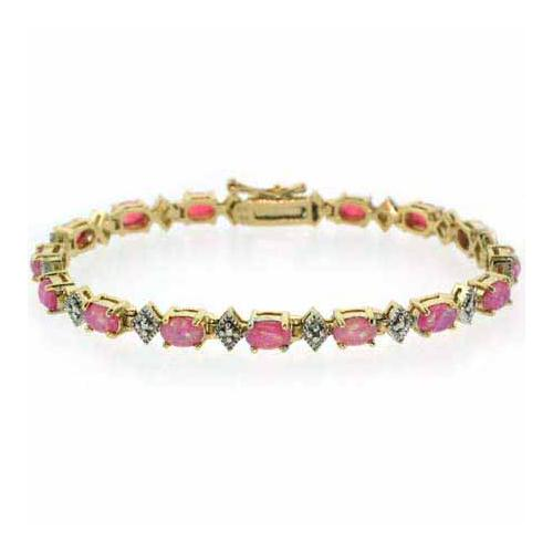 18K Gold over Sterling Silver Created Pink Opal & Diamond Accent Bracelet