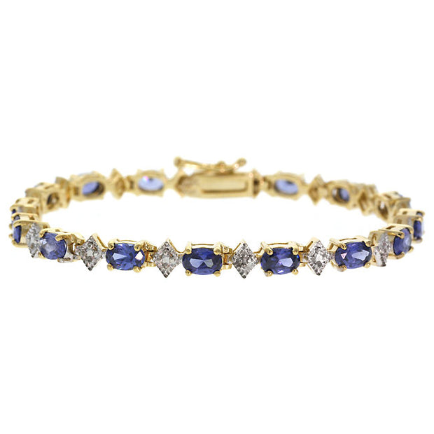 18K Gold over Sterling Silver Tanzanite CZ & Diamond Accent Bracelet