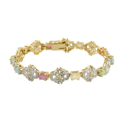 18K Gold over Sterling Silver Multi Colored Created Opal & Diamond Accent Filigree Bow Bracelet