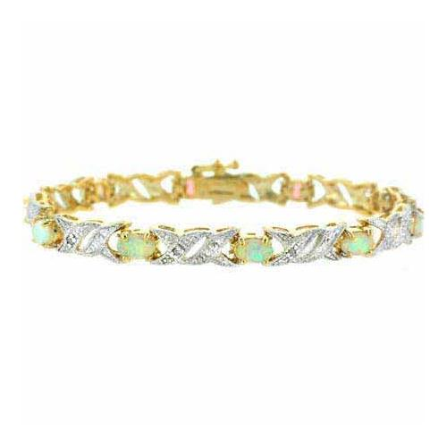 18K Gold over Sterling Silver Created Opal & Diamond Accent Double X Link Bracelet