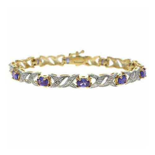 18K Gold over Sterling Silver Tanzanite CZ & Diamond Accent Double X Link Bracelet