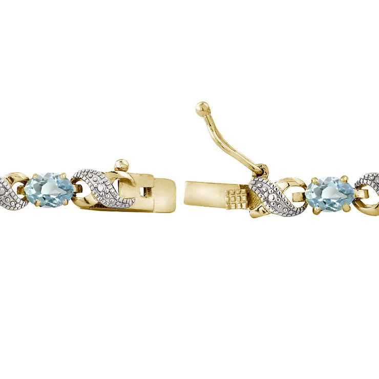 6.6ct Blue Topaz & Diamond Accent Infinity Bracelet in Gold Tone