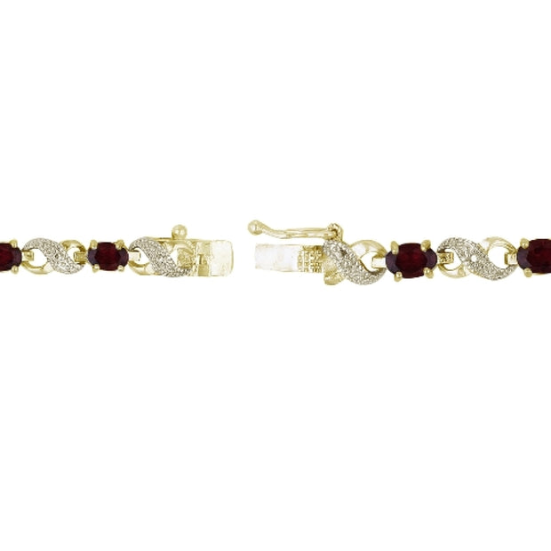 18K Gold Plated 6.6ct Created Ruby & Diamond Accent Infinity Bracelet