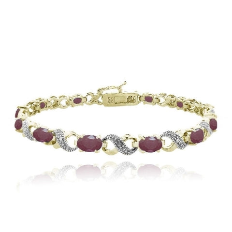 Gold Plated 6.6ct Ruby & Diamond Accent Infinity Bracelet